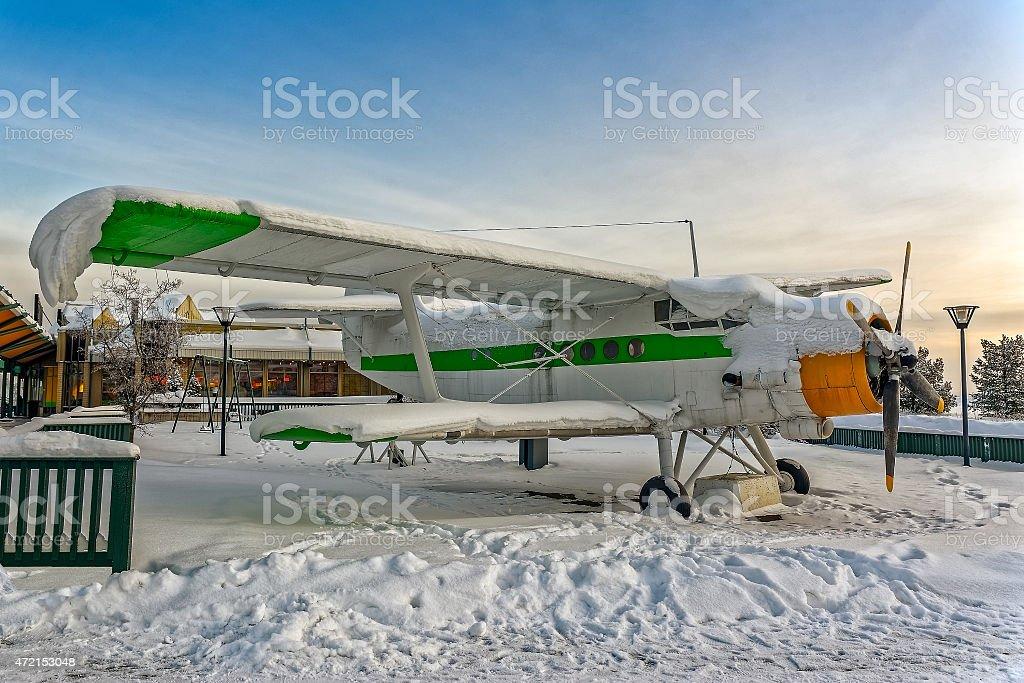 Plane covered snow stock photo