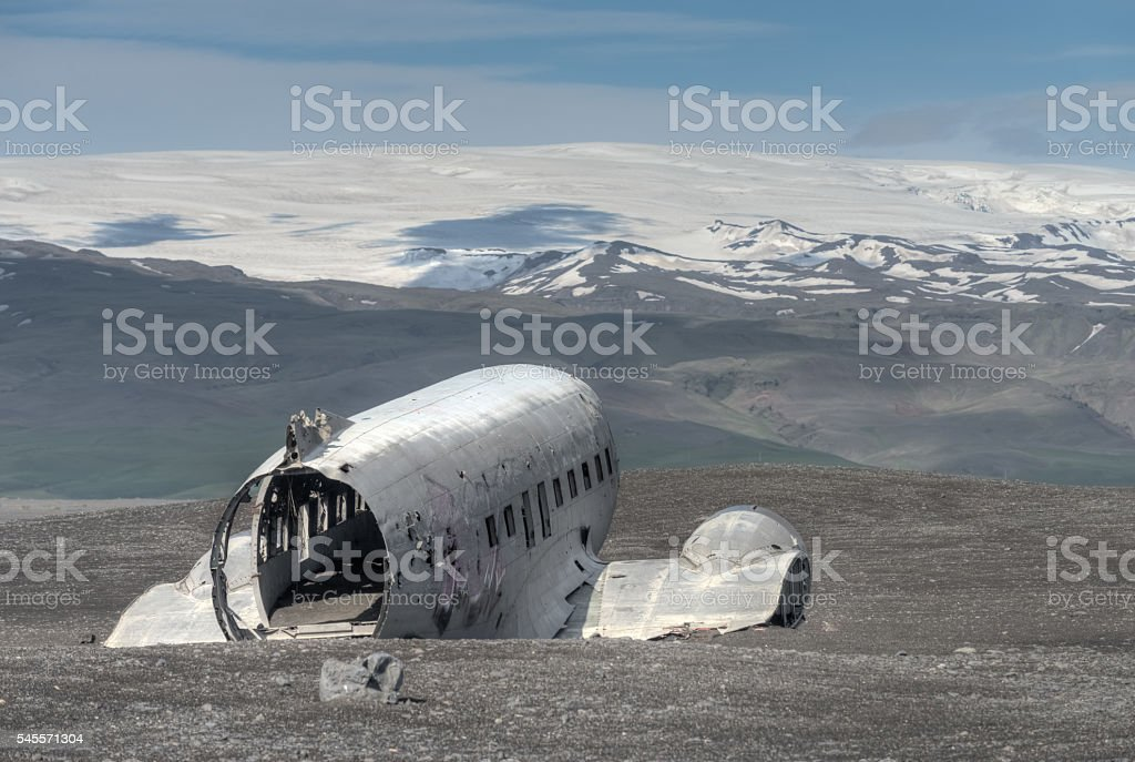 Plane Crash Ruins, Solheimasandur, Iceland stock photo