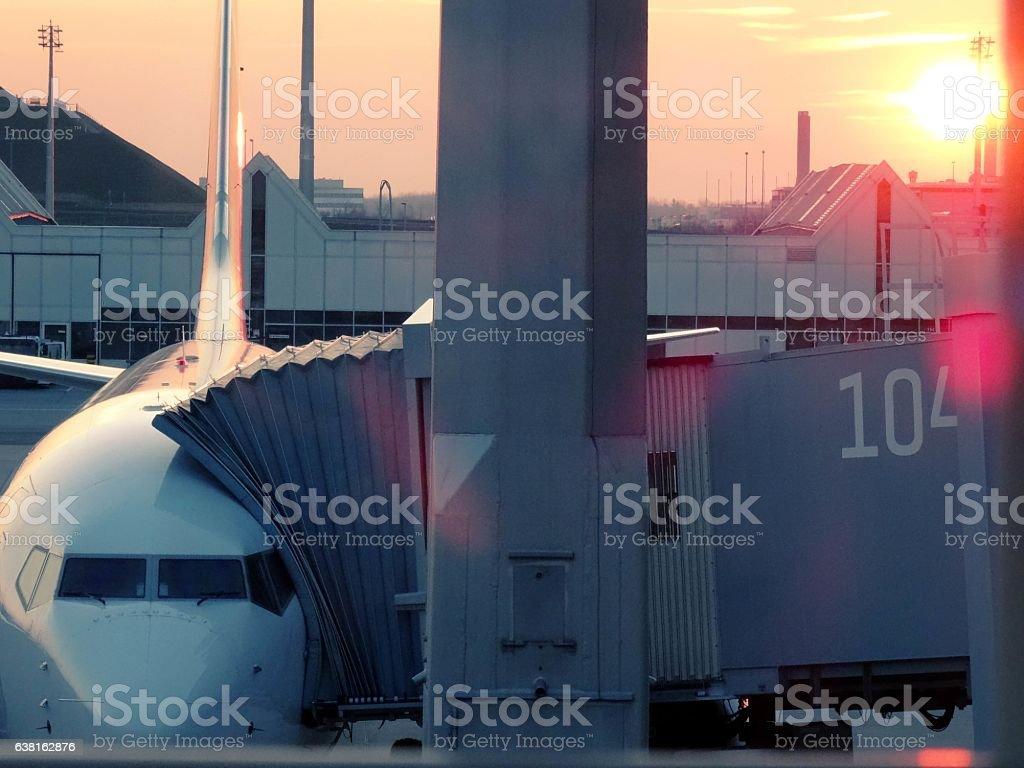 Plane docking at Frankfurt air port stock photo