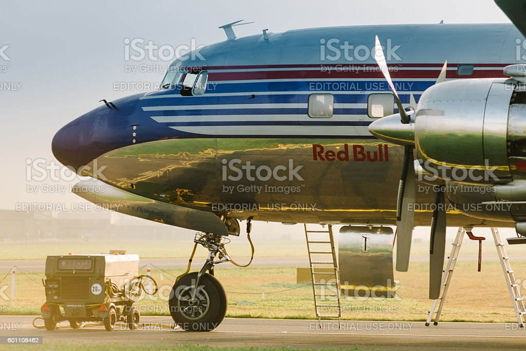 Plane DOUGLAS DC-6B Red Bull stock photo