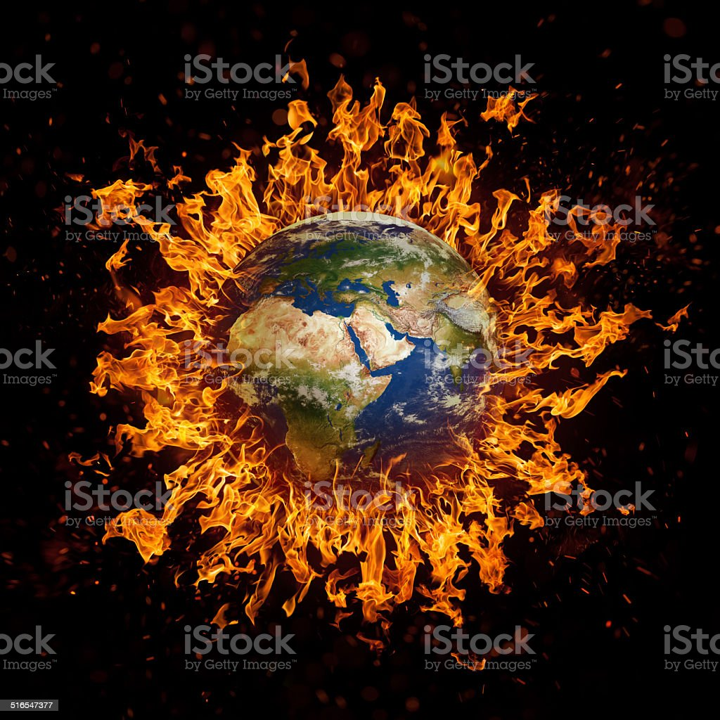 Plane Earth in fire. Global conflict. stock photo