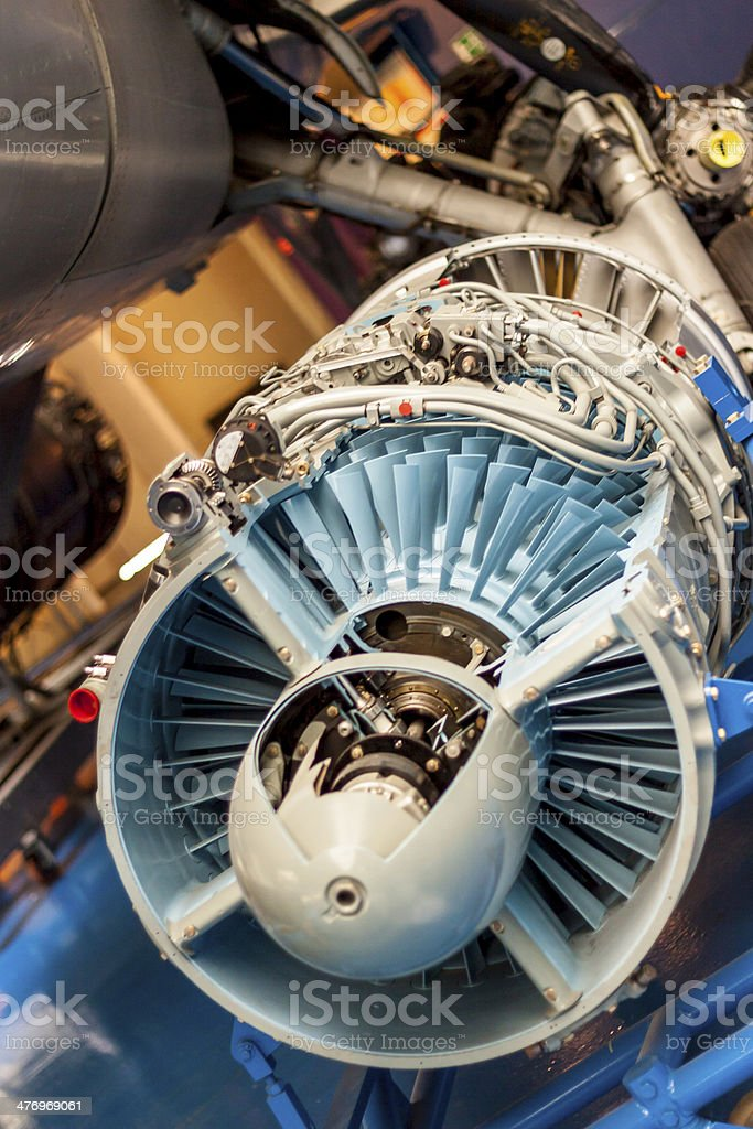 Plane engine dismantle stock photo