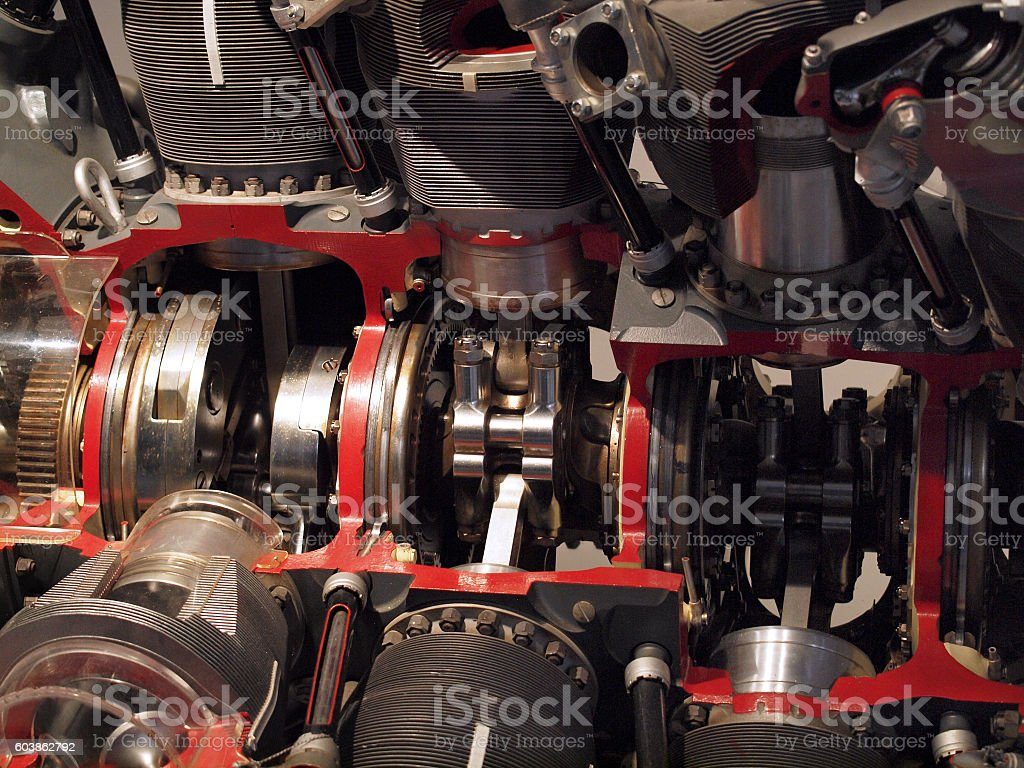 Plane engine pistons firing stock photo