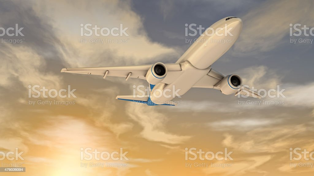 Plane flying in the sky stock photo