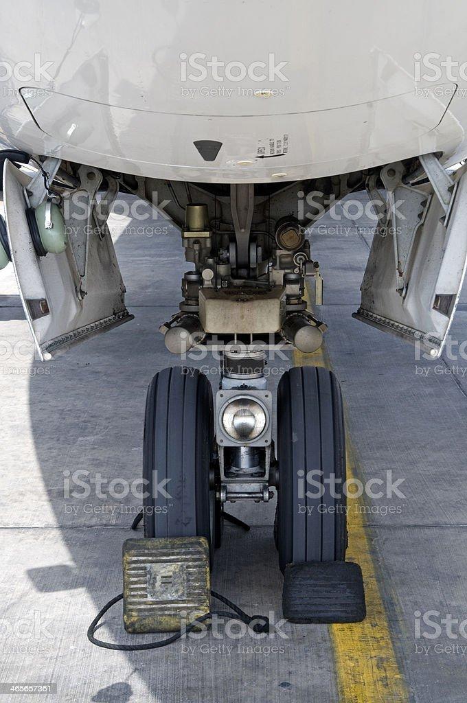 Plane front wheel stock photo