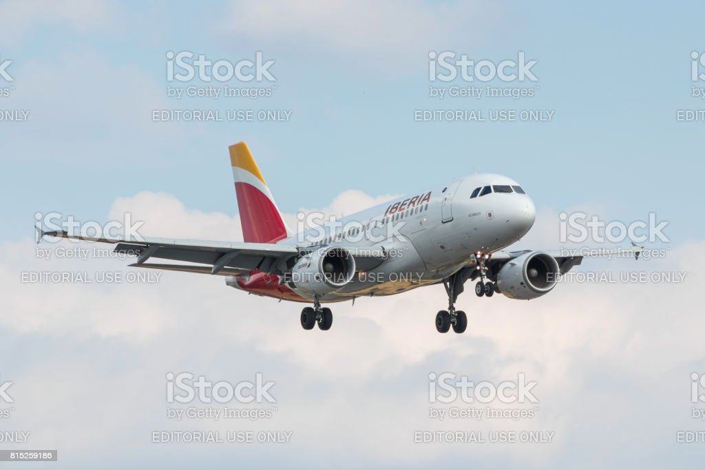Plane Iberia airlines landing stock photo
