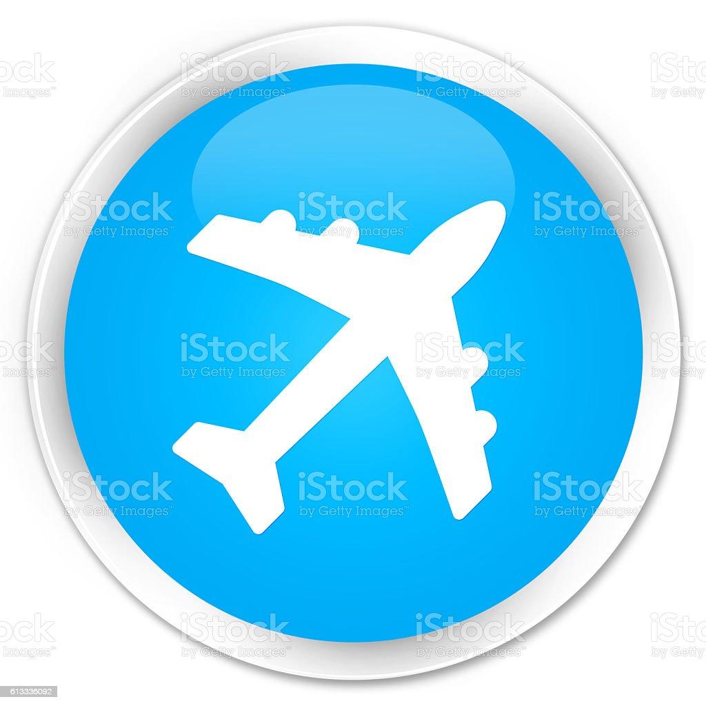 Plane icon cyan blue glossy round button stock photo
