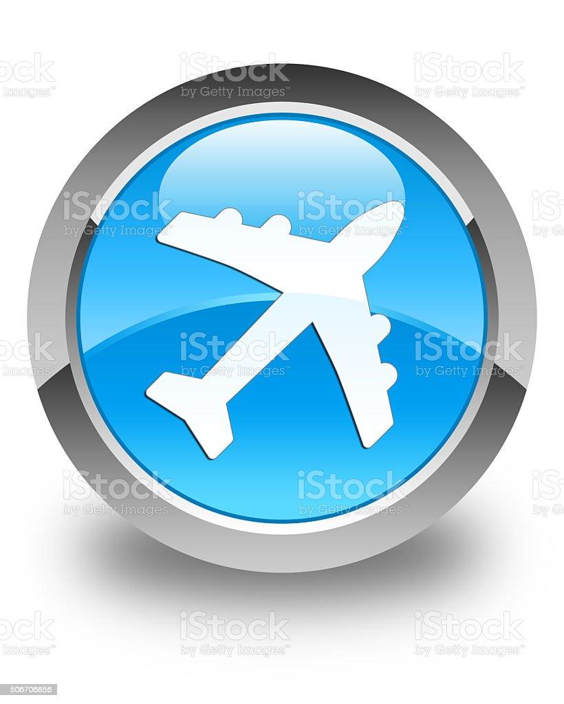 Plane icon glossy cyan blue round button stock photo