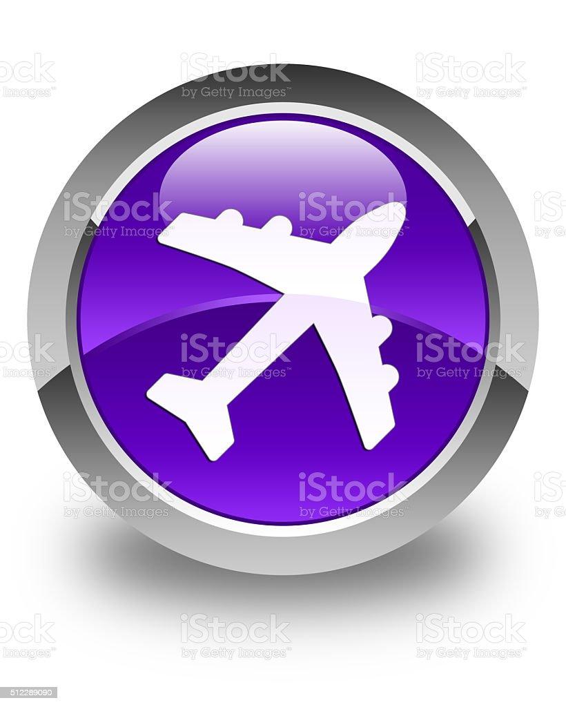 Plane icon glossy purple round button stock photo