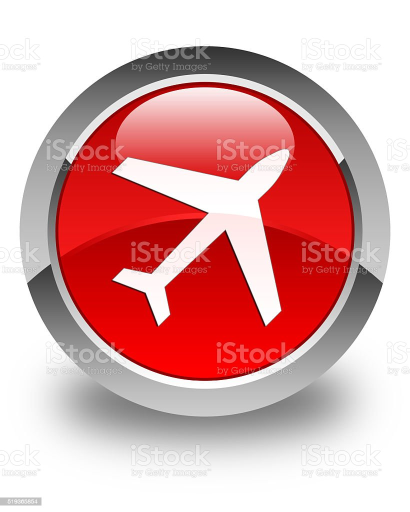 Plane icon glossy red round button stock photo