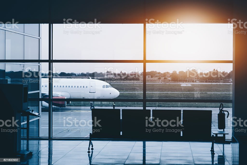 Plane in airport near. View from inside stock photo