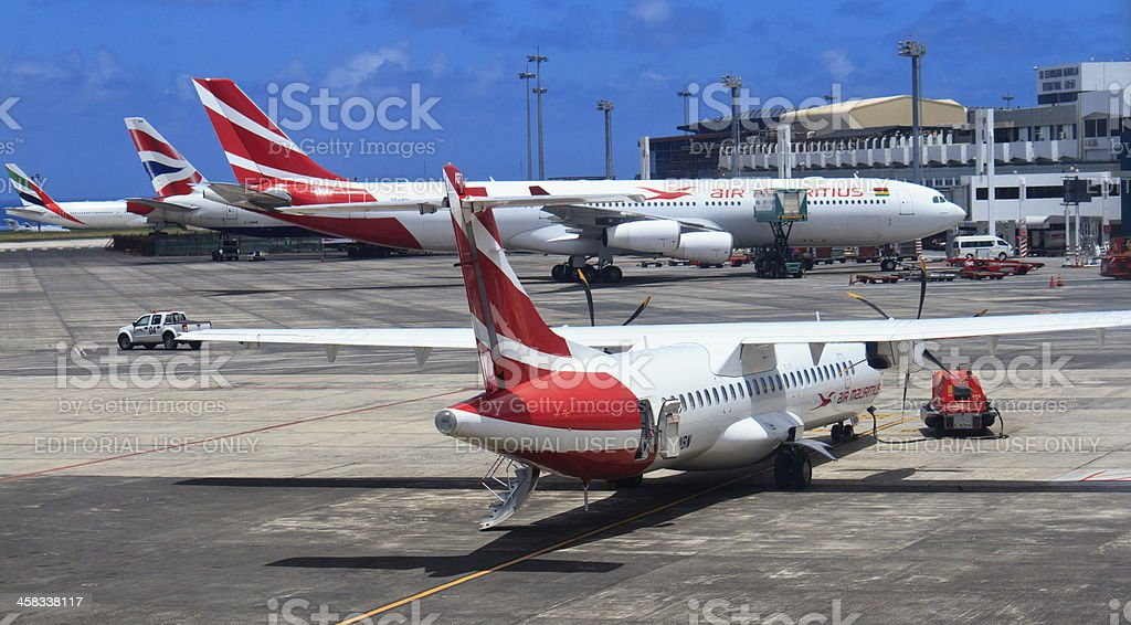 Plane in Mauritius airport royalty-free stock photo