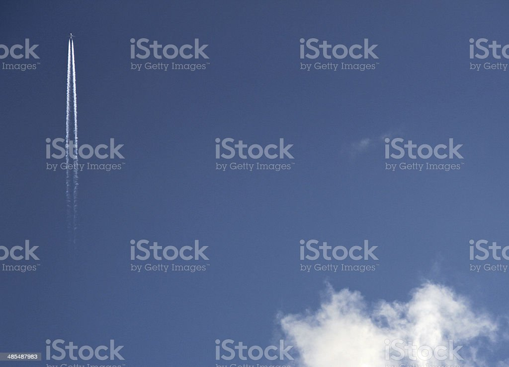 Plane in Sky Background stock photo