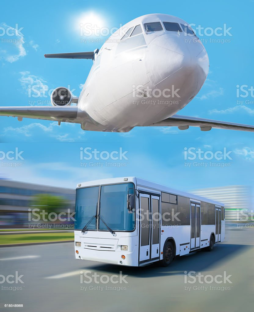 plane in sky bus going in city stock photo
