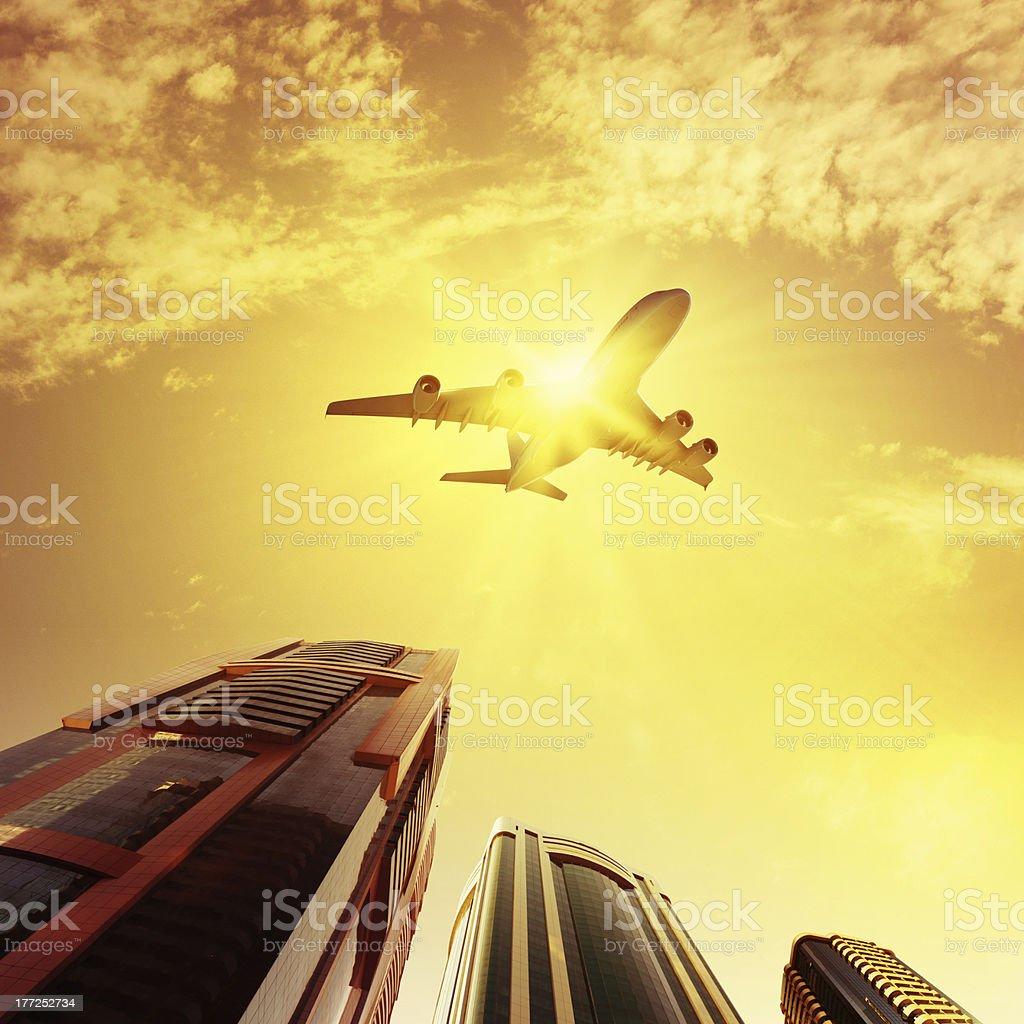 Plane in sky royalty-free stock photo