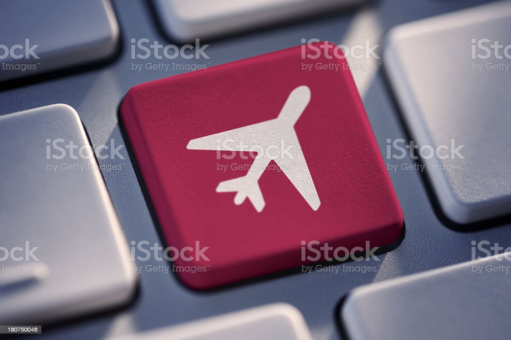 Plane Key On Computer Keyboard royalty-free stock photo