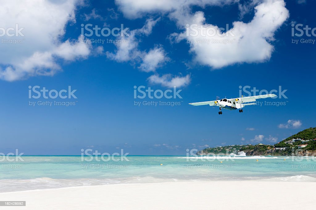 plane landing in Saint Barthelemy royalty-free stock photo