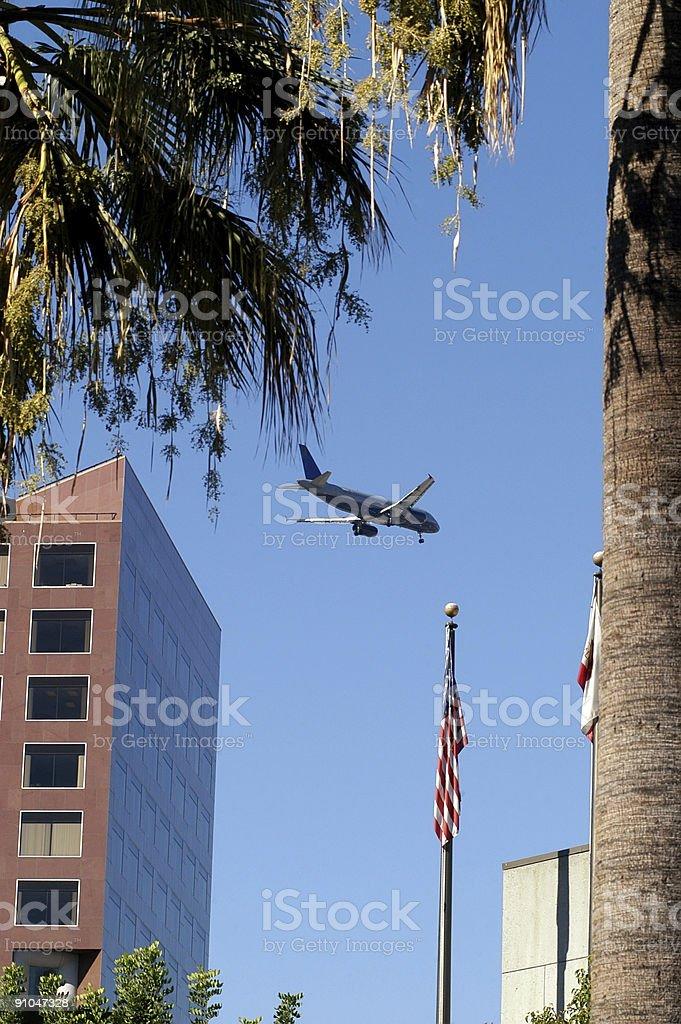Plane Landing over San Jose stock photo