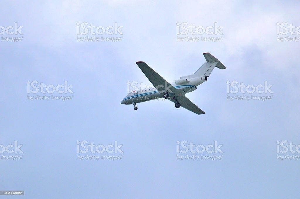 plane local airways is landing stock photo