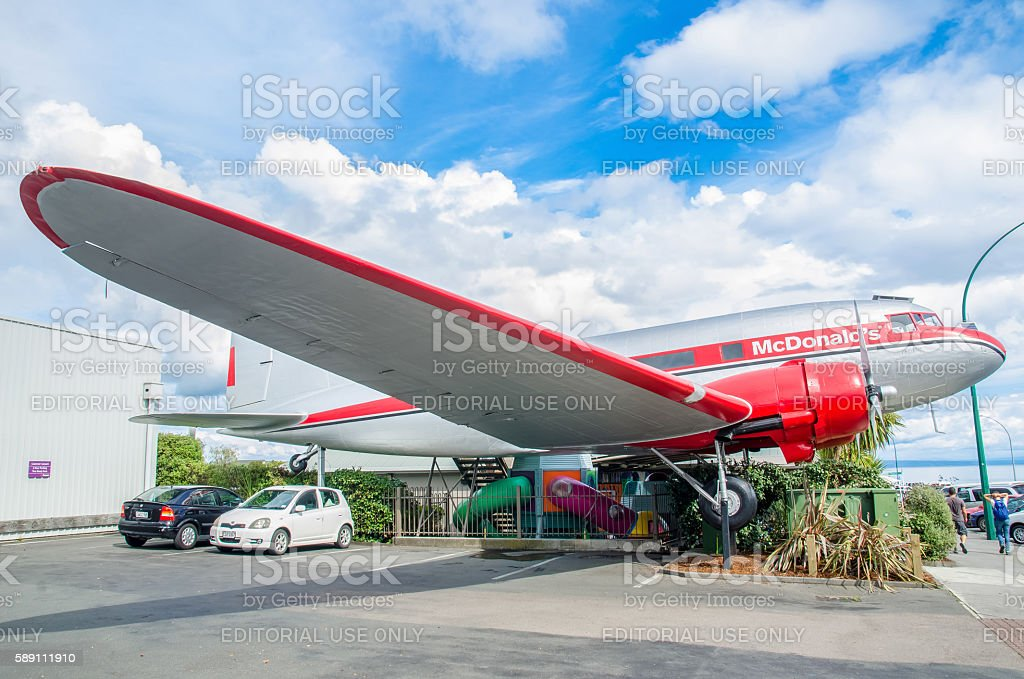 DC3 plane McDonald's which is located at Taupo,New Zealand. stock photo