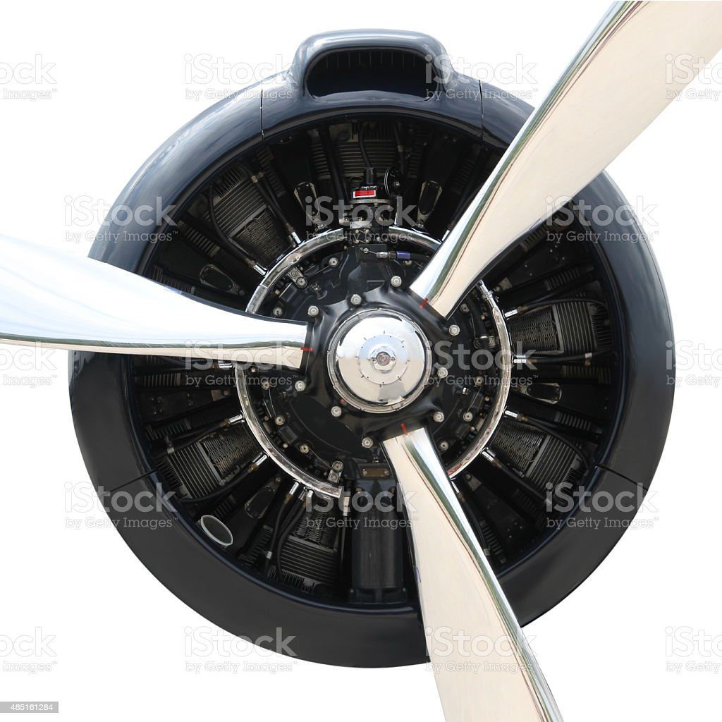 Plane Motor with Propeller stock photo