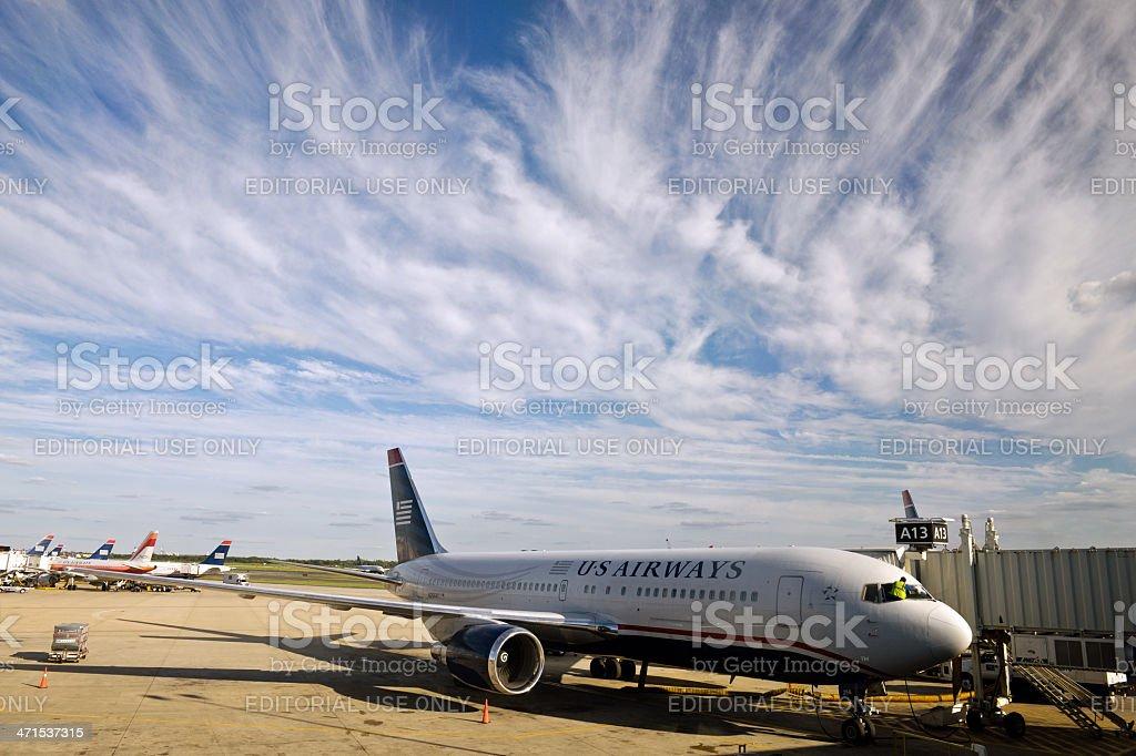 US Plane on Philadelphia International Airport USA stock photo