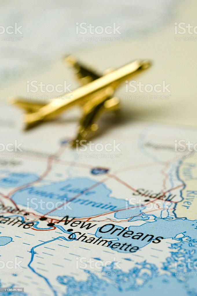 Plane Over New Orleans stock photo