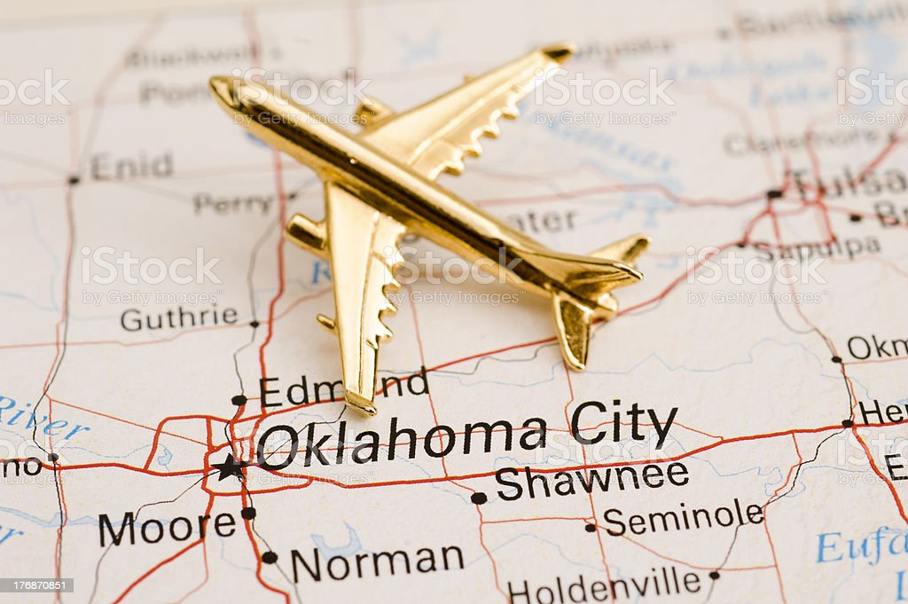 Plane Over Oklahoma City royalty-free stock photo