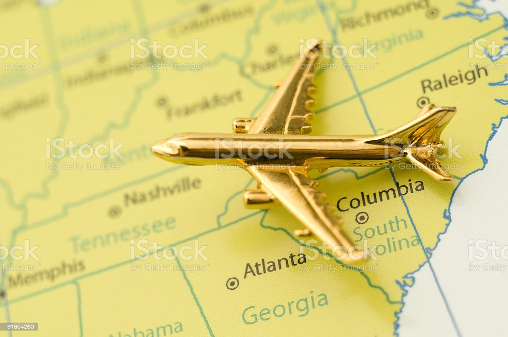 Plane Over the Southeastern United States stock photo