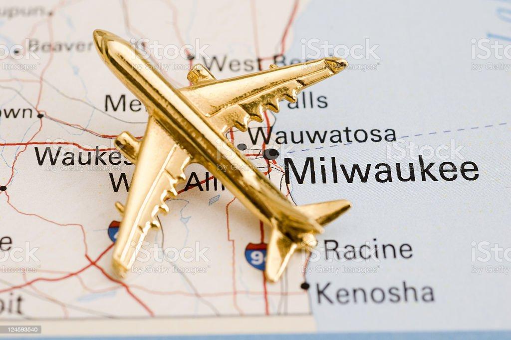 Plane Over Wisconsin stock photo