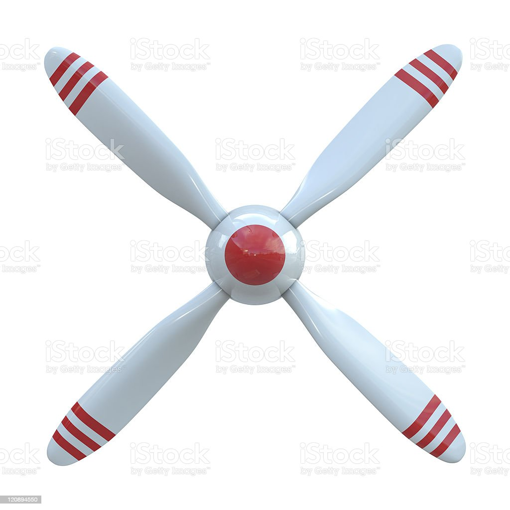 Plane propeller with 4 blade stock photo