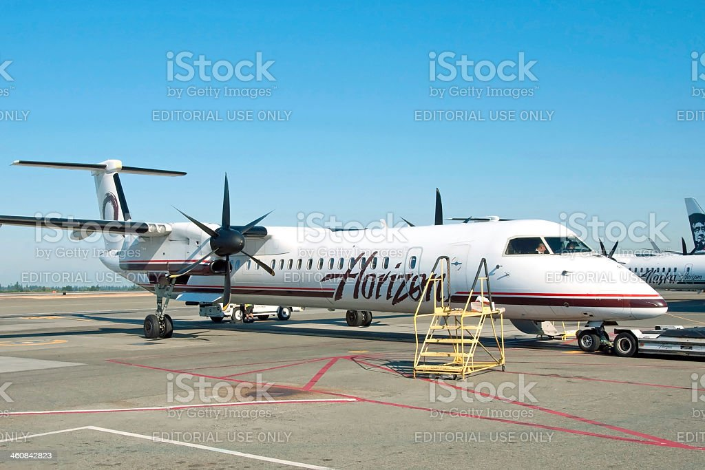 Plane ready to boarding in Vancouver YVR airport royalty-free stock photo