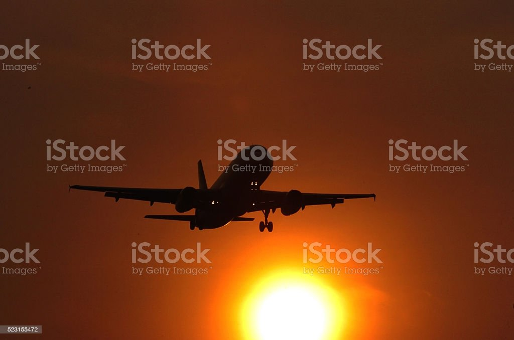 Plane silhouette stock photo