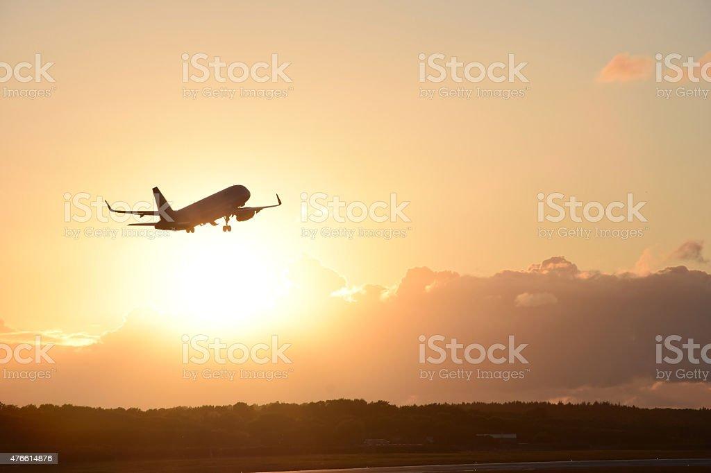 Plane take off stock photo