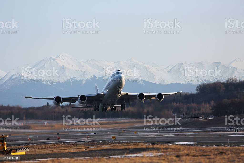 plane takes off stock photo