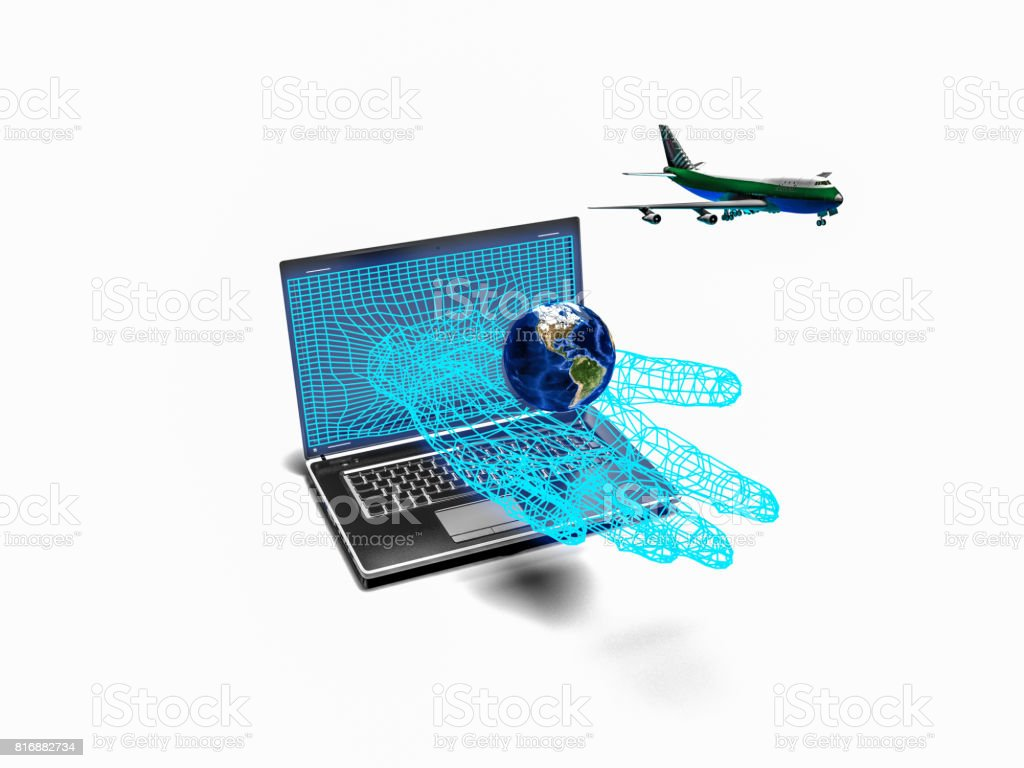 plane taking off from the laptop hand, 3d render stock photo