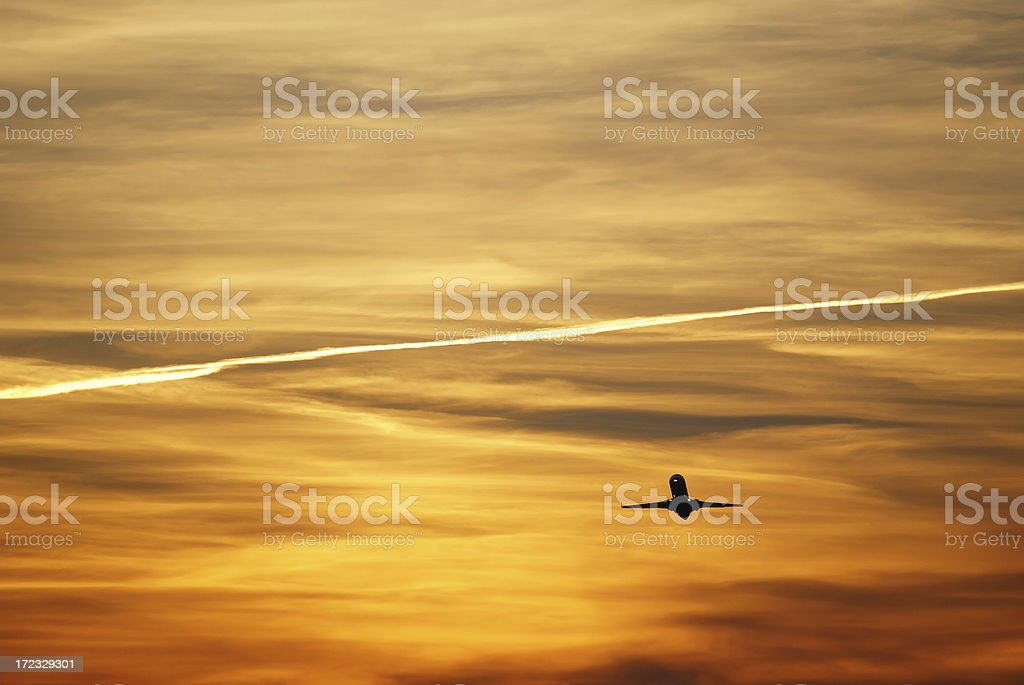 Plane taking-off against evening sky. royalty-free stock photo