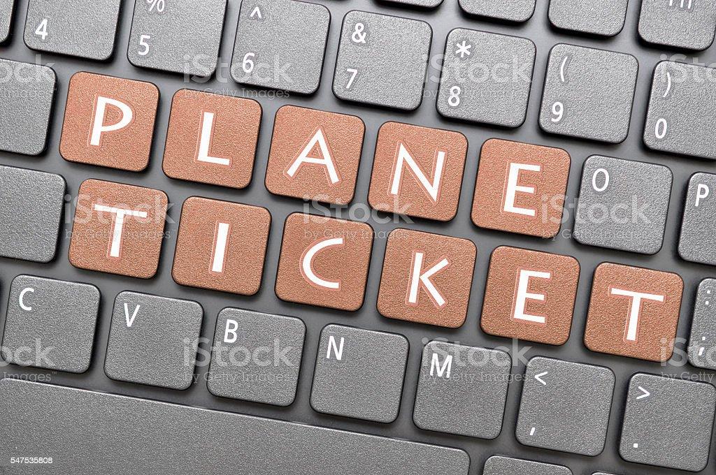 Plane ticket key on keyboard stock photo