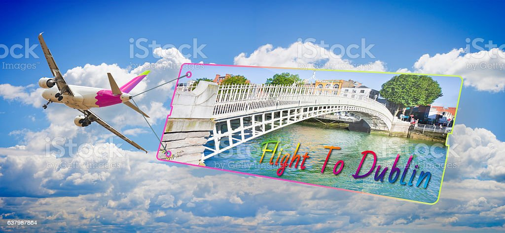 Plane towing a signboard whit image of Dublin stock photo