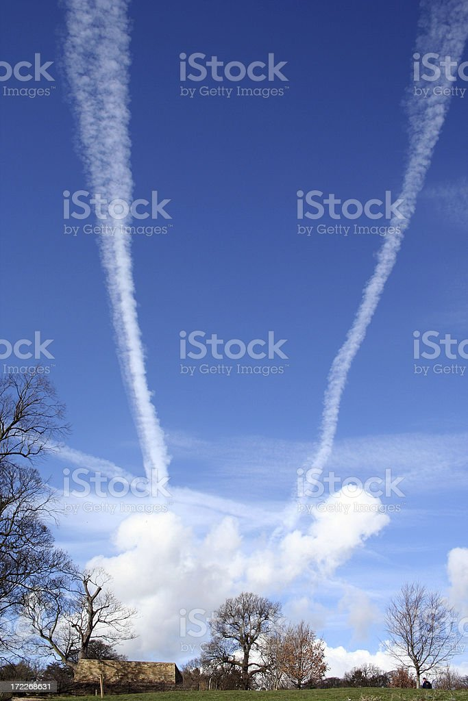 Plane Tracks in the Sky royalty-free stock photo