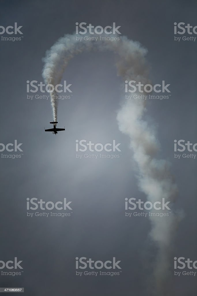 plane trail at sky royalty-free stock photo