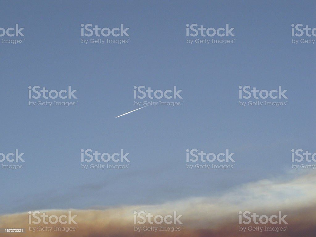 Plane Trail Sky Sunset stock photo