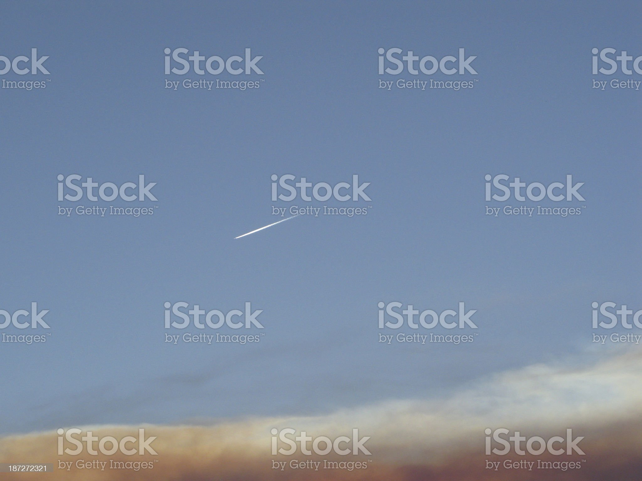 Plane Trail Sky Sunset royalty-free stock photo