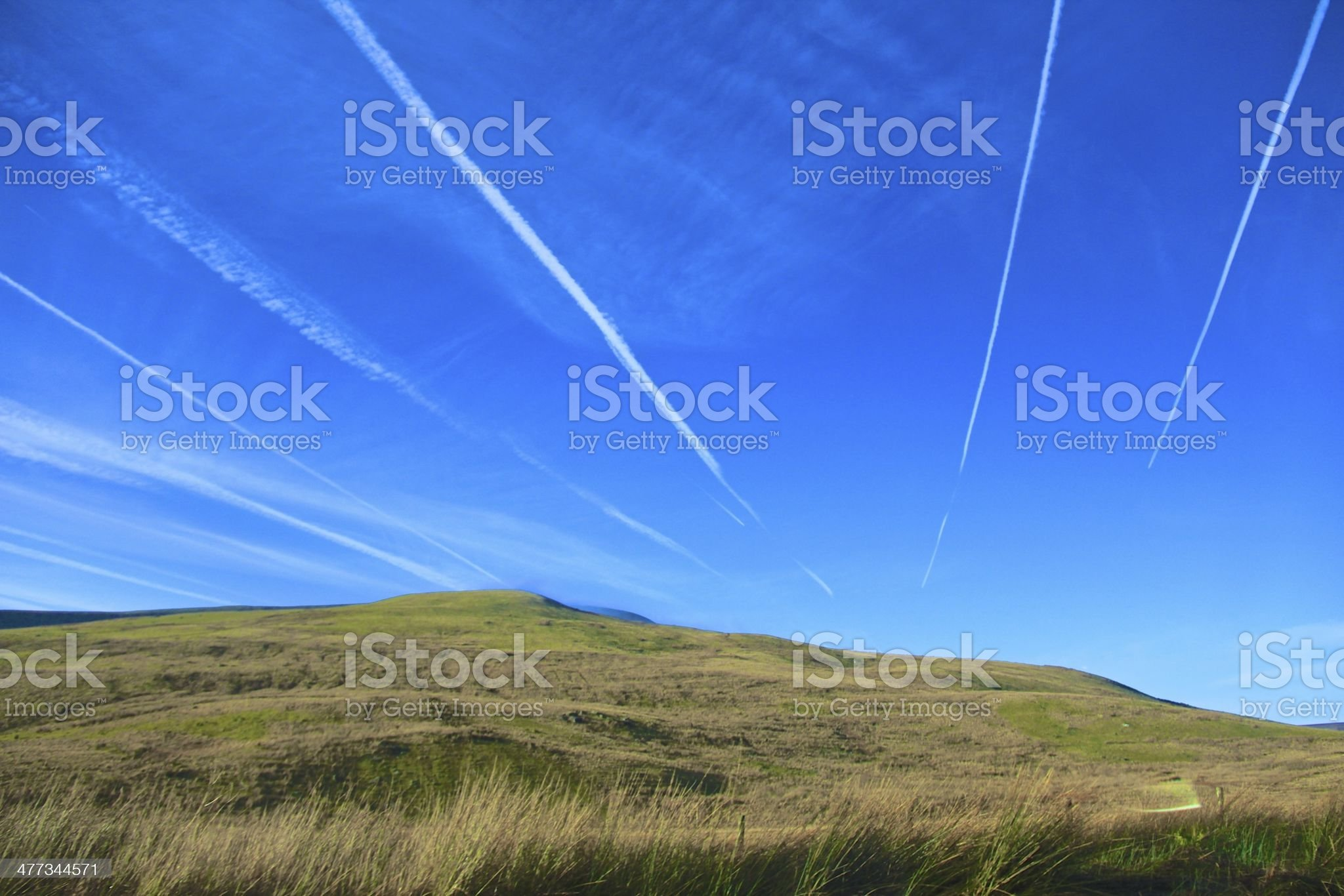 Plane trails royalty-free stock photo