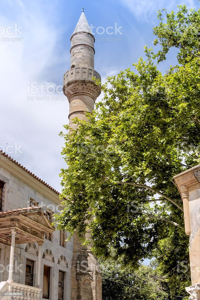 Plane Tree of Hippocrates and Gazzi Hassan mosque in Kos stock photo