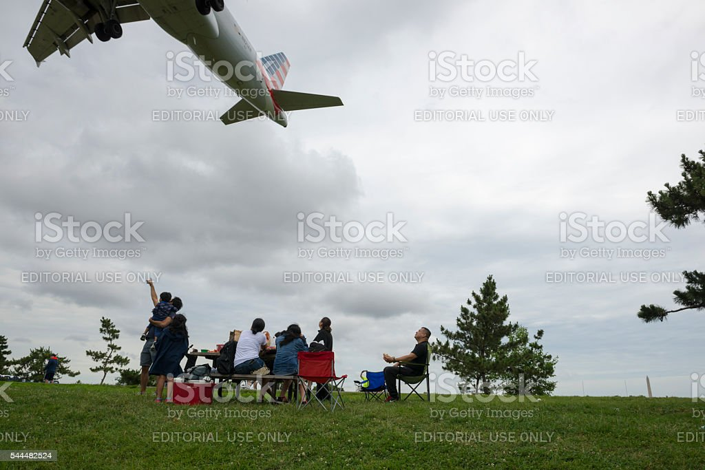 Plane watching at Gravelly Point in Arlington, Virginia stock photo