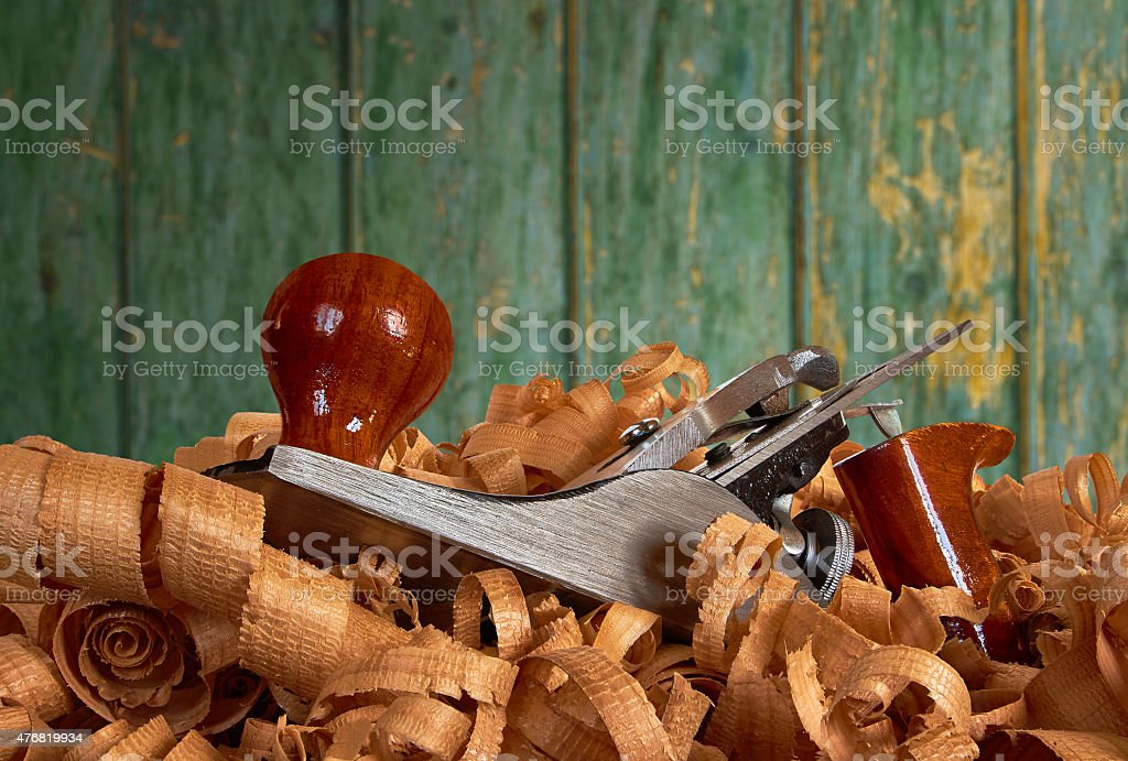 planer and wood shavings royalty-free stock photo