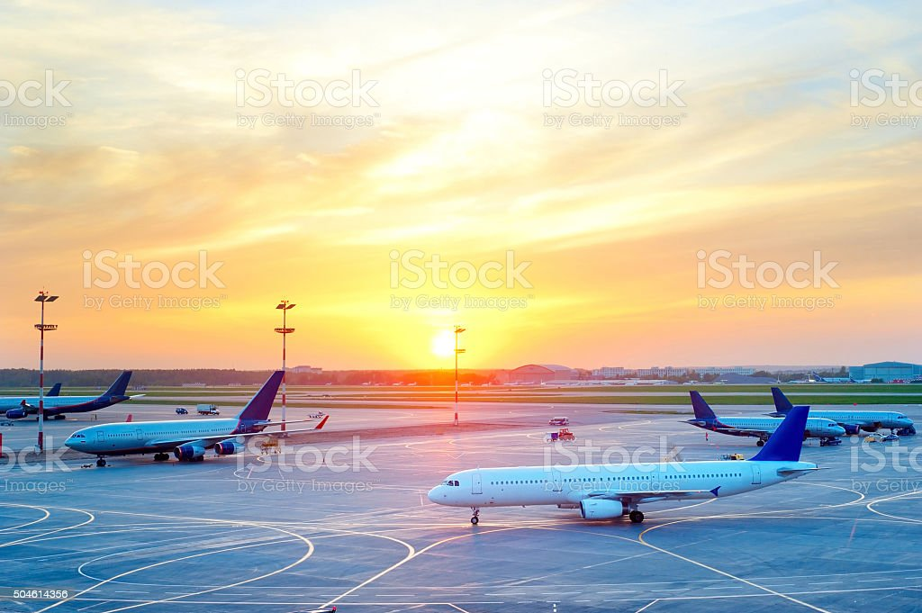 Planes at airport stock photo