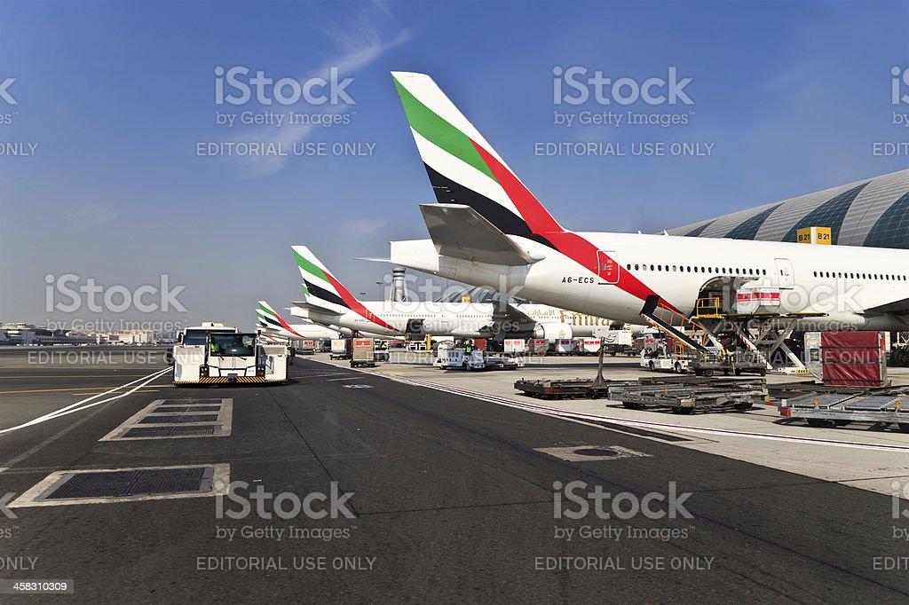 Planes in Dubai International Airport stock photo