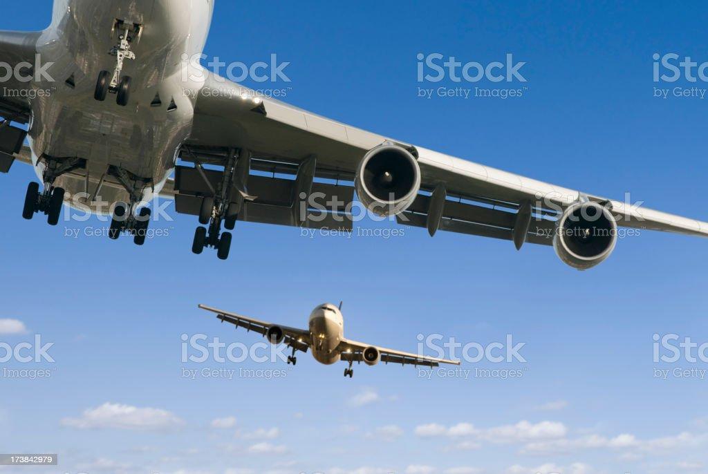 Planes landing stock photo